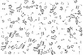 Notes randomly pattern. Music decoration element isolated on the white background.