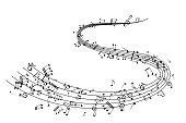 Notes on the swirl lines. Music decoration element isolated on the white background.