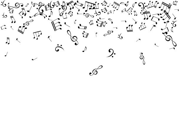 notes on the swirl. music decoration element isolated on the white background. - nuta stock illustrations