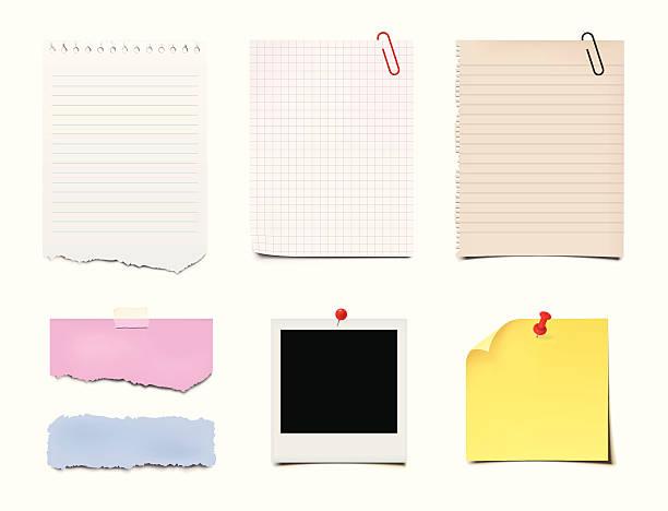 지급어음, post-it 및 종이 - 종이 클립 stock illustrations