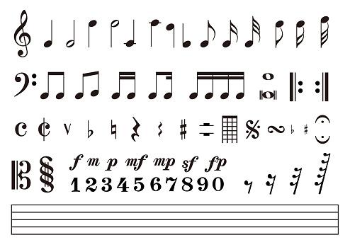 Notes score Music notation, Vector illustration
