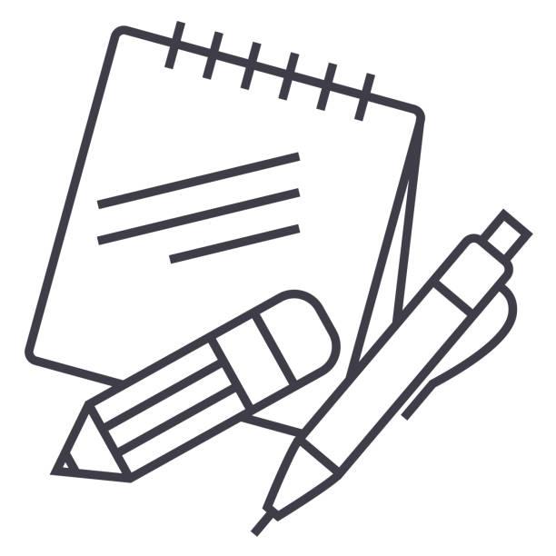 notas con lápiz y pluma vector línea de icono, símbolo, Ilustración de fondo, trazos editables - ilustración de arte vectorial