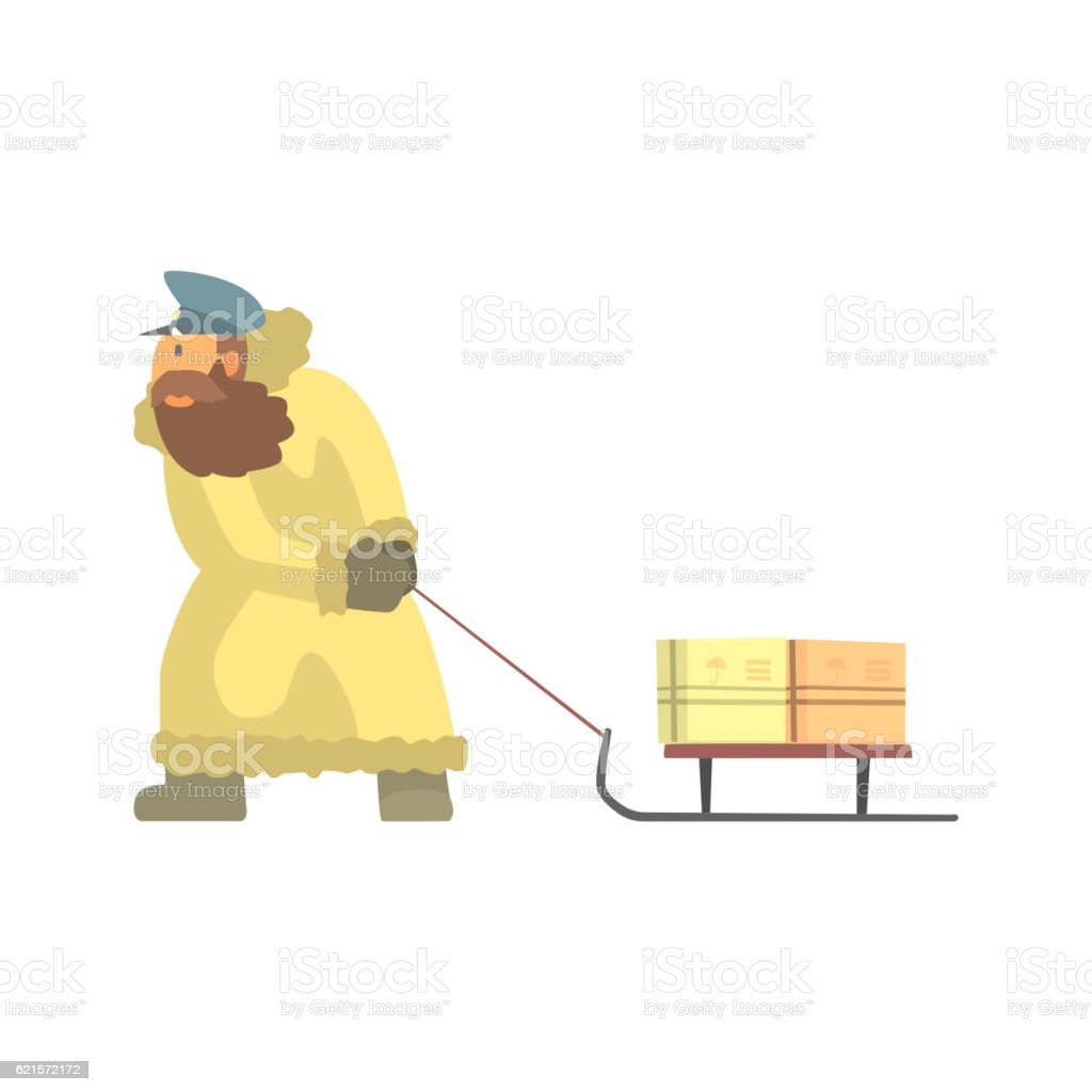 Nothern Postman In Fur Coat Dragging Sled With Mail nothern postman in fur coat dragging sled with mail – cliparts vectoriels et plus d'images de adulte libre de droits