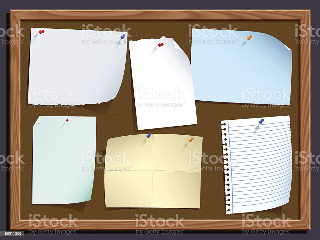 notice board with notes vector art illustration