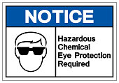 Notice Hazardous Chemical Eye Protection Required Symbol Sign ,Vector Illustration, Isolate On White Background Label. EPS10