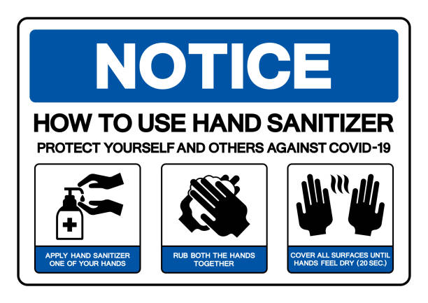 Notice How To Use Hand Sanitizer Protect Yourself And Others Against Covid -19 Symbol Sign, Vector Illustration, Isolate On White Background Label. EPS10 Notice How To Use Hand Sanitizer Protect Yourself And Others Against Covid -19 Symbol Sign, Vector Illustration, Isolate On White Background Label. EPS10 station stock illustrations