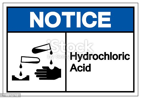 Notice Hydrochloric Acid Symbol Sign ,Vector Illustration, Isolate On White Background Label .EPS10