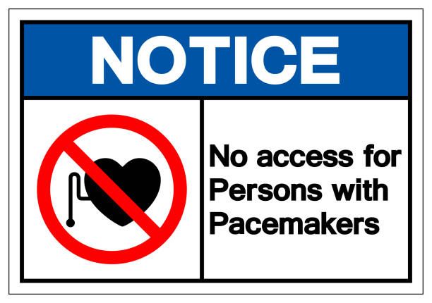 Notice No Access For Persons With Pacemaker Symbol Sign ,Vector Illustration, Isolate On White Background Label. EPS10 vector art illustration