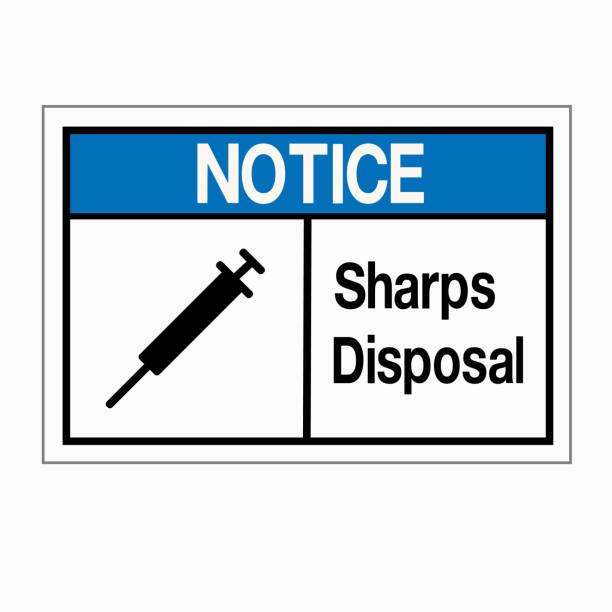 Notice Sharps Disposal Symbol Sign, Vector Illustration, Isolated On White Background Label .EPS10 vector art illustration