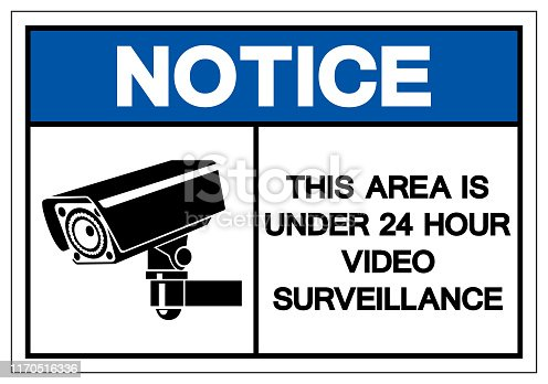 Notice This Area Is Under 24 Hour Video Surveillance Symbol Sign, Vector Illustration, Isolate On White Background Label. EPS10