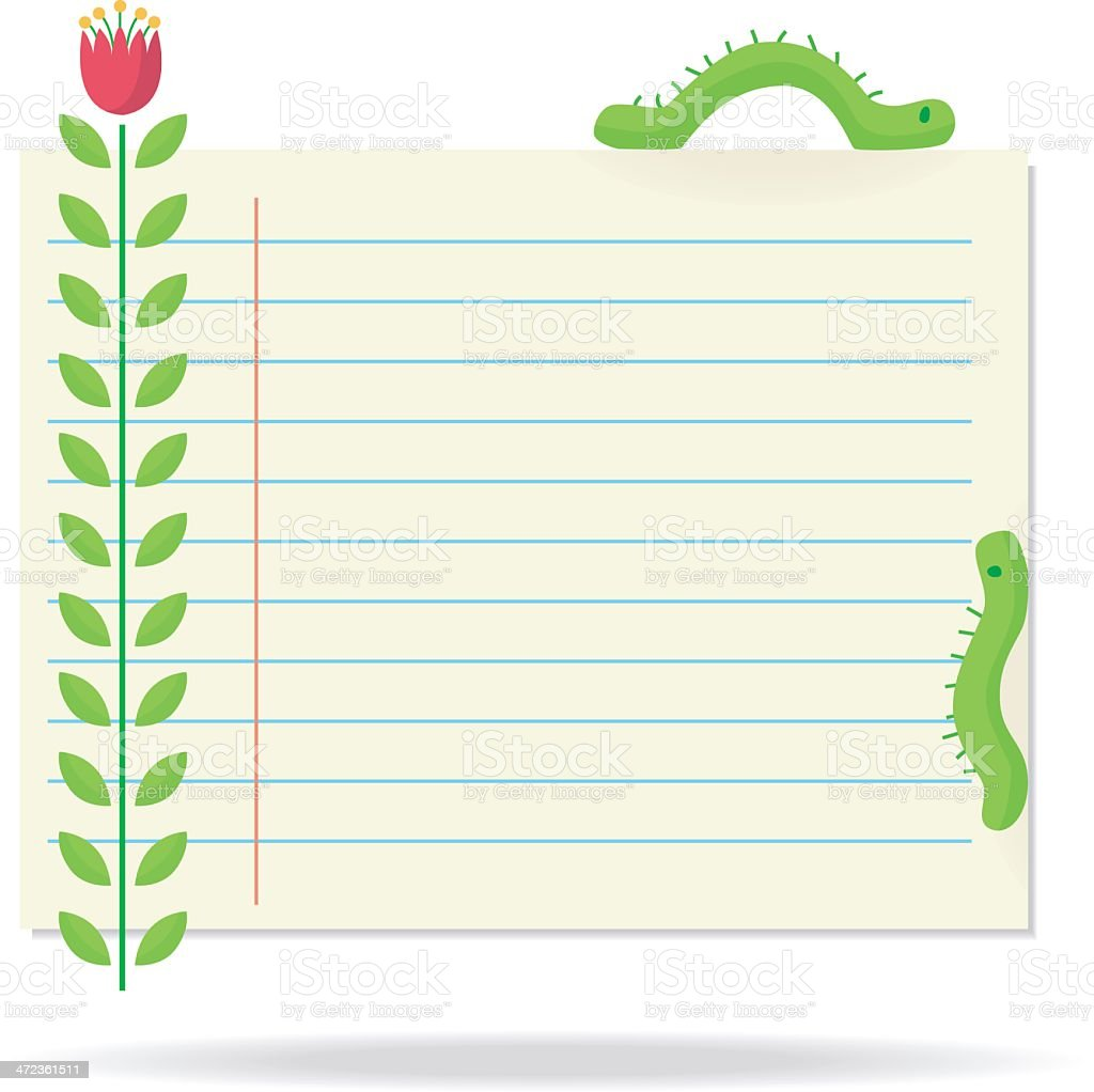 noticepaper with caterpillars. royalty-free stock vector art