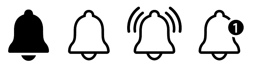 Notification bell icon. Alarm symbol. Incoming inbox message. Ringing bells. Alarm clock and smartphone application alert. Social media element. New message symbol flat style - stock vector.