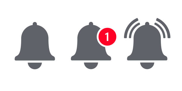 Notification bell icon for incoming inbox message. Vector ringing bell and notification number sign for alarm clock and smartphone application alert vector art illustration