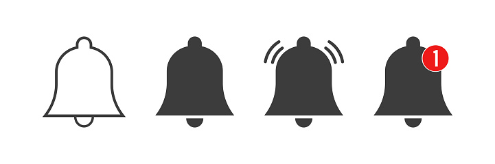 Notification bell icons.  Alarm clock concept .Colection bells for social media . Incoming inbox message. New massage . Vector illustration.