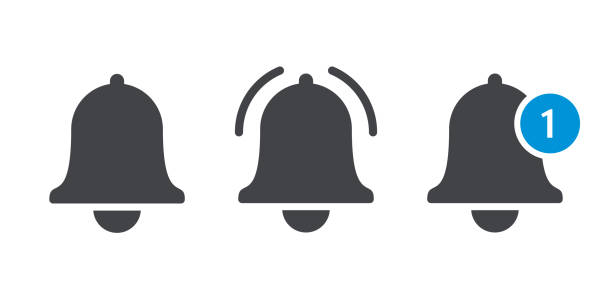 notification bell or incoming inbox message vector icon - reminder stock illustrations