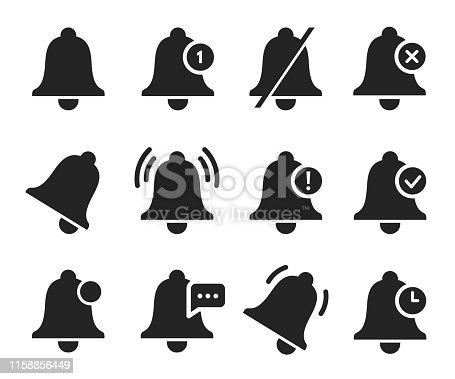 Notification bell set, sound signal element design. Ringing sound, reminder symbol. Vector illustration on white background