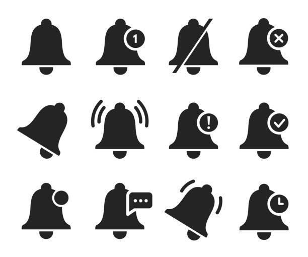 Notification bell set, sound signal element design vector art illustration