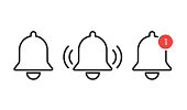 Notification bells icon isolated. Reminder or alarm message. Interface smartphone element. EPS 10