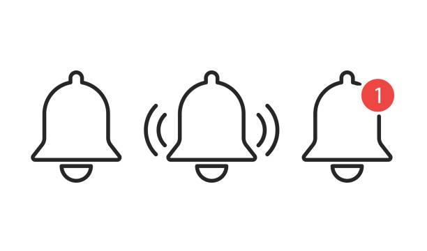illustrations, cliparts, dessins animés et icônes de icône de cloches de notification isolée. rappel ou message d'alarme. élément smartphone interface. - bague