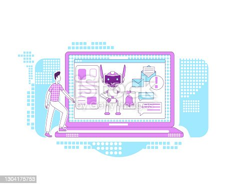 istock Notification bot thin line concept vector illustration. Automated newsletter. Man getting news mails 2D cartoon character for web design. Digital marketing assistant creative idea 1304175753