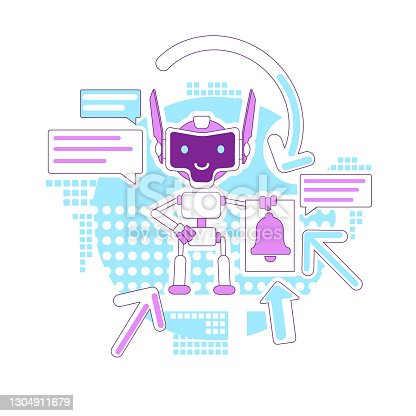 istock Notification bot thin line concept vector illustration. Automated newsletter. Mails sending robot 2D cartoon character for web design. Digital email marketing assistant creative idea 1304911679