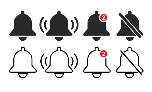 Notification flat bells icon. Vector illustration