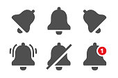 Notification icons. Message bells, reminder application and smartphone notifications bell icon. Notice reminder or smartphone app message noticed logo. Isolated vector symbols set
