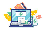 Notification on financial transaction. Laptop with electronic receipt. Online payment confirmation via SMS. Vector illustration in flat style. Financial transactions, cashless operation on payment