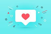 istock Notifications icon Like, speech bubble. Like icon with heart 1130856764