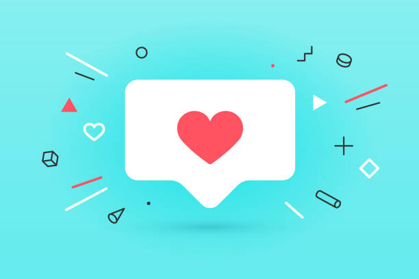 Notifications icon Like, speech bubble. Like icon with heart Notifications icon Like, speech bubble. Like icon with heart, one like and shadow for social network on red background. Speech bubble, poster and sticker concept for banner, web. Vector Illustration social issues stock illustrations