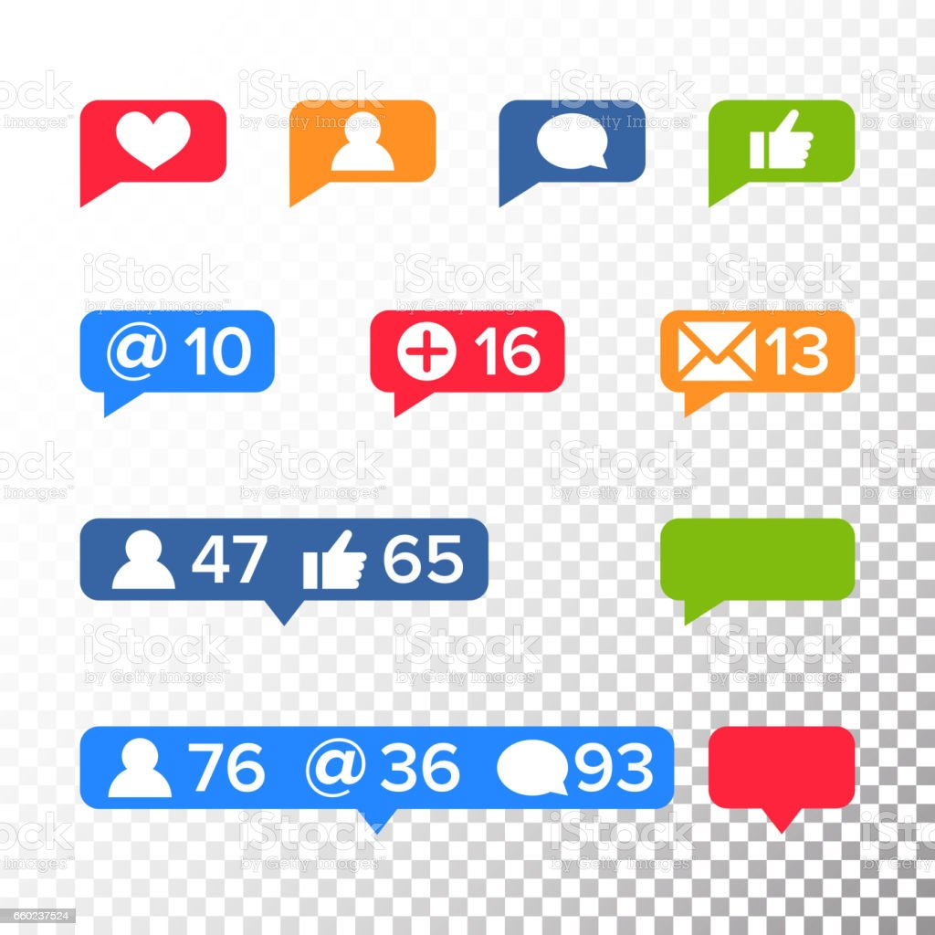 Notifications Icons Template Vector Like Symbol Message