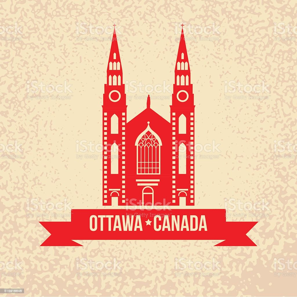 Notre Dame Cathedral in Ottawa. Vector vintage silhouette vector art illustration
