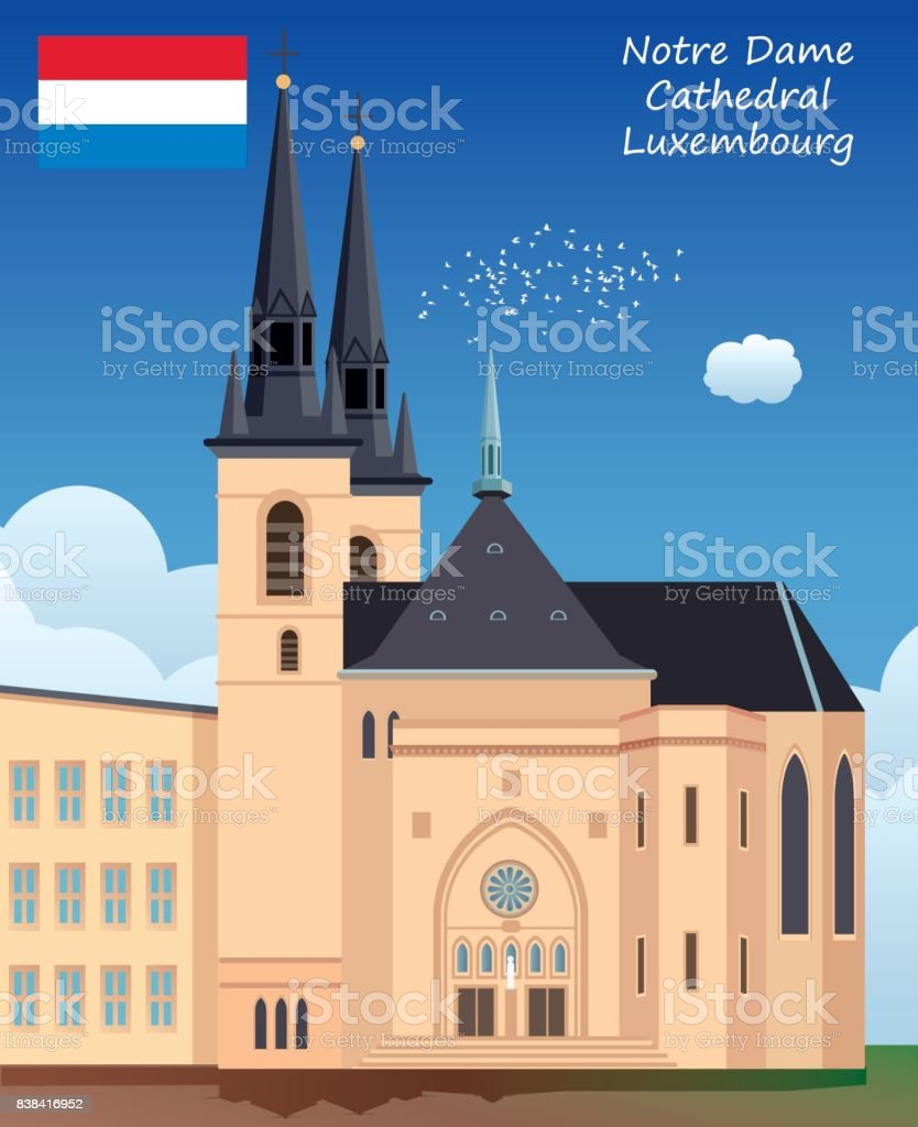 Notre Dame Cathedral - Luxembourg vector art illustration