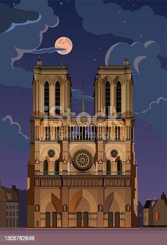 istock Notre Dame de Paris. Vector. 1305782649