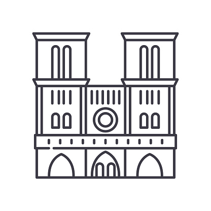 Notre dame icon, linear isolated illustration, thin line vector, web design sign, outline concept symbol with editable stroke on white background.
