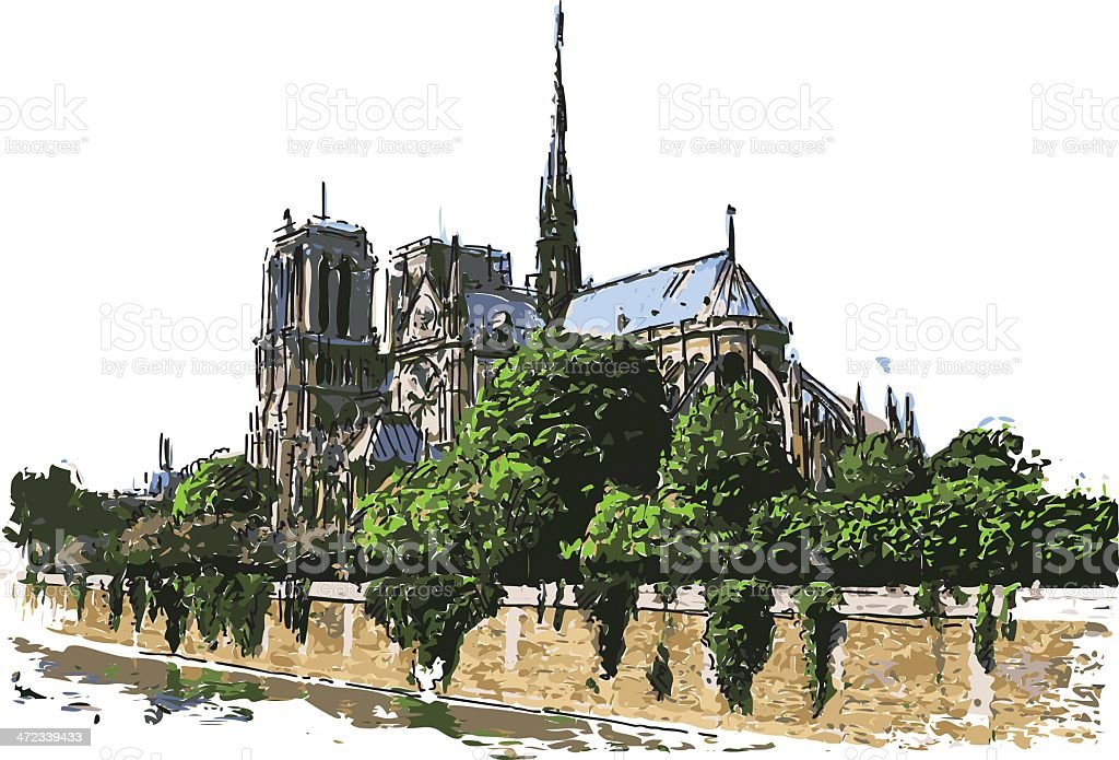 Notre dame royalty-free stock vector art