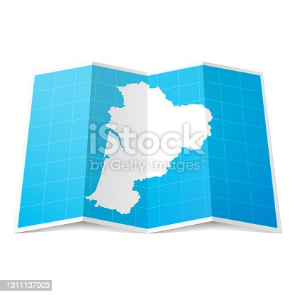 istock Nouvelle-Aquitaine map folded, isolated on white background 1311137003