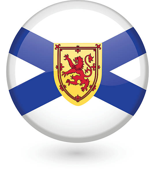 Nova Scotia flag button vector art illustration