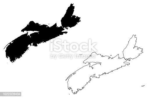 Nova Scotia (provinces and territories of Canada) map vector illustration, scribble sketch Nova Scotia map