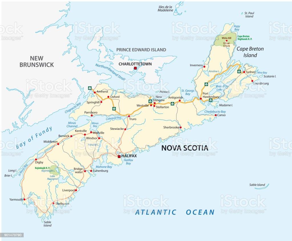 Nova Scotia Road Vector Map Canada Stock Vector Art More Images of