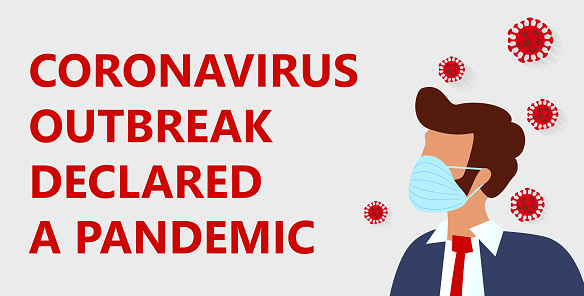 Novel corona virus disease COVID-19 , 2019-nCoV, MERS-Cov, handsome bearded man in suit with blue medical face mask and text - Coronavirus outbreak declared a pandemic