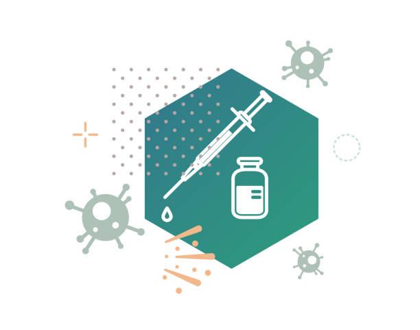 ilustraciones, imágenes clip art, dibujos animados e iconos de stock de novel coronavirus - 2019-ncov - ensayo de vacunas - ilustración - covid 19 vaccine