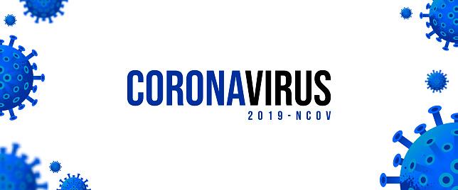 Novel Coronavirus 2019-nCoV . Virus Covid 19-NCP. Coronavirus nCoV denoted is single-stranded RNA virus. Background with realistic 3d yellow virus cells. Horizontal banner, poster, header for website