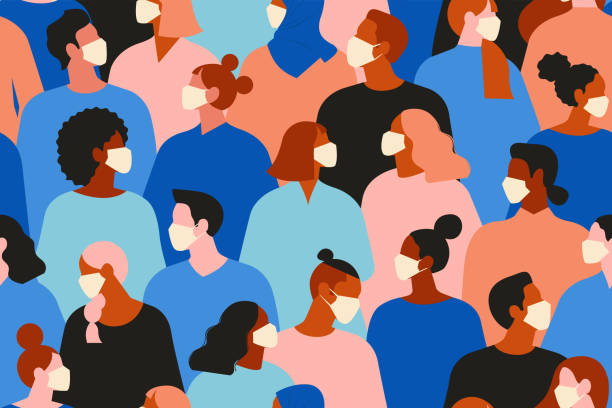 中国のコロナウイルス。新しいコロナウイルス(2019-ncov)、白い医療用フェイスマスクの人々。コロナウイルス検疫ベクターの概念図。シームレスなパターン。 - マスク点のイラスト素材/クリップアート素材/マンガ素材/アイコン素材