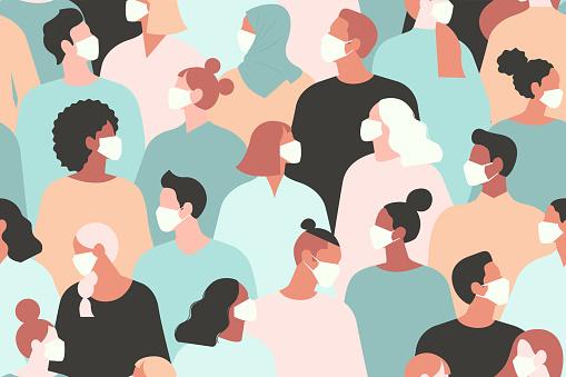 Novel coronavirus (2019-nCoV), people in white medical face mask. Concept of coronavirus quarantine vector illustration. Seamless pattern.