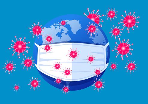 2019 novel coronavirus pneumonia spreading worldwide,Virus crisis, planet wearing medical mask