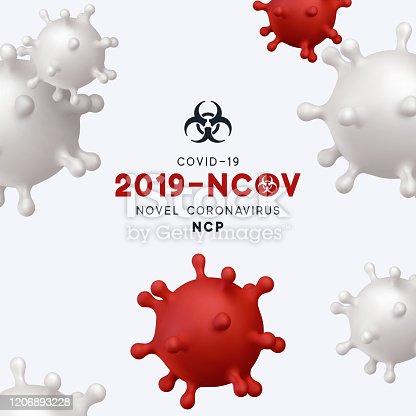 Novel Coronavirus (2019-nCoV). Virus Covid 19-NCP. Coronavirus nCoV denoted is single-stranded RNA virus. Background with realistic 3d red and white virus cells. danger symbol vector illustration.