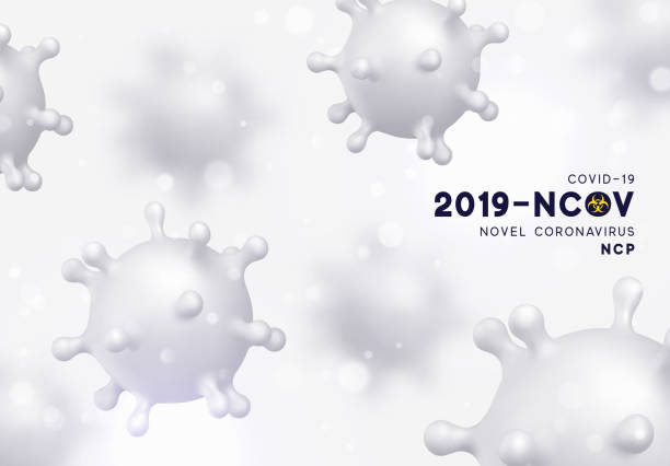 Novel Coronavirus (2019-nCoV). Virus Covid 19-NCP. Coronavirus nCoV denoted is single-stranded RNA virus. Background with realistic 3d white virus cells. vector illustration Novel Coronavirus (2019-nCoV). Virus Covid 19-NCP. Coronavirus nCoV denoted is single-stranded RNA virus. Background with realistic 3d white virus cells. vector illustration living organism part stock illustrations