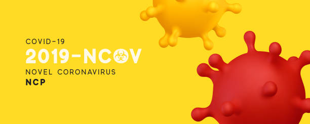 novel coronavirus (2019-ncov). virus covid 19-ncp. coronavirus ncov denoted is single-stranded rna virus. background with realistic 3d yellow virus cells. horizontal banner, poster, header for website - covid 19 stock illustrations