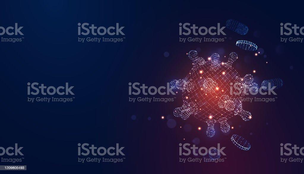 Novel Coronavirus (2019-nCoV). Virus Covid 19-NCP. Coronavirus nCoV denoted is single-stranded RNA virus. Background blue virus cells, blood platelets, capsule pills. Digital 3d vector illustration Novel Coronavirus (2019-nCoV). Virus Covid 19-NCP. Coronavirus nCoV denoted is single-stranded RNA virus. Background blue virus cells, blood platelets, capsule pills. Digital 3d vector illustration 2020 stock vector